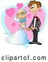 Vector of a Young Happy White Couple Getting Married - Cartoon by
