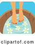 Vector of a Young Woman Soaking Her Feet in a Tub with Flowers by Monica