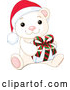Vector of Adorable Baby Polar Bear Wearing a Santa Hat and Holding a Christmas Gift by Pushkin