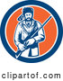 Vector of American Frontiersman, Davy Crockett, Holding a Rifle in a Blue White and Orange Circle by Patrimonio