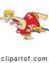 Vector of an Aggressive Cartoon Football Player Charging Forward While Yelling by Toonaday