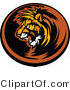 Vector of an Aggressive Lion Mascot Roaring Within Circle Icon by Chromaco