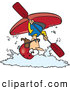 Vector of an Airborne Cartoon Female Kayaker Flipping Above White Water Waves by Toonaday
