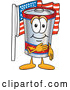 Vector of an American Cartoon Battery Mascot Pledging Allegiance by Toons4Biz