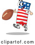 Vector of an American Cartoon Flag Mascot Running with Football by