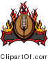 Vector of an American Football over Burning BannerAmerican Football over Burning Banner - Coloring Page Outline by Chromaco