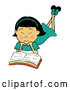 Vector of an Asian Girl Reading a Book by Pams Clipart