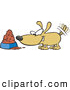 Vector of an Excited Cartoon Dog Wagging His Tail in Front of a Full Food Bowl by Ron Leishman