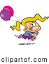 Vector of an Excited Cartoon Girl Running with Pink and Purple Birthday Party Balloons by Ron Leishman