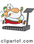 Vector of an Fat Cartoon Santa Running on a Treadmill by Ron Leishman