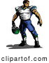 Vector of an Imposing Cartoon Football Player Holding His Helmet While Looking over His Shoulder by Chromaco