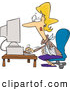 Vector of an Injured Cartoon Woman Working on a Desktop Computer by Ron Leishman