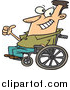 Vector of an Optimistic Man Sitting on a Wheelchair - Cartoon Style by Toonaday