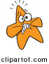 Vector of an Orange Starfish Looking Scared by Toonaday