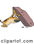 Vector of an Upset Cartoon Dog Looking for Hidden Treasure Under a Big Rock by Ron Leishman