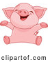 Vector of Baby Piglet Cheering by Pushkin