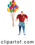 Vector of Balloon Guy Holding a Bunch of Party Balloons by Prawny