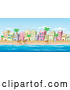 Vector of Beachfront Buildings Scene with Ocean and Blue Sky by