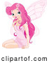 Vector of Beautiful Pink Fairy Woman Sitting by Pushkin