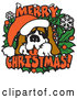 Vector of Big St Bernard on a Merry Christmas Sign by Andy Nortnik