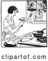 Vector of Black and White Retro Woman Making Apple Pie by Picsburg