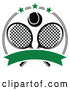 Vector of Black and White Tennis Ball over Crossed Rackets in a Circle with Stars and a Blank Green Banner by Vector Tradition SM