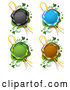 Vector of Black Blue Green and Brown Wax Seals with Ribbons over Green with Vines by Merlinul