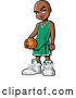 Vector of Black Boy Holding a Basketball by Clip Art Mascots