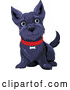 Vector of Black Happy Scottish Terrier Dog Sitting and Wearing a Red Collar by Pushkin