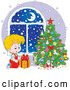 Vector of Blond Caucasian Boy Gazing at a Gift on Snowy Christmas Night by Alex Bannykh