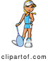 Vector of Blond White Girl Posing with a Tennis Racket by Clip Art Mascots