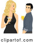 Vector of Blond White Lady Holding a Cocktail and Looking Back at a Handsome Guy by BNP Design Studio