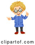 Vector of Blond White Man or Boy Scientist Holding up a Finger and Pointing by Graphics RF