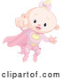 Vector of Blond White Super Hero Baby Girl Flying by Pushkin