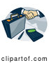 Vector of Briefcase and Business Handshake with a Calculator in an Oval by Patrimonio