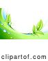 Vector of Bright Green Leaves, Dew and Green and White Waves Bordering a White Background by Beboy