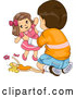 Vector of Brunette White Boy Playing with Toy Dolls by BNP Design Studio