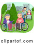 Vector of Caregiver and Senior Citizens in Wheelchairs, Enjoying a Park by BNP Design Studio