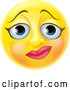 Vector of Cartoon 3d Yellow Female Smiley Emoji Emoticon Face with a Nervous Expression by AtStockIllustration