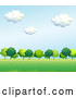 Vector of Cartoon Background of Lush Green Trees and a Field 2 by Graphics RF
