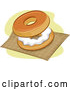 Vector of Cartoon Bagel and Cream Cheese on a Napkin by BNP Design Studio