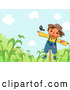 Vector of Cartoon Bird on a Scarecrow over Corn by BNP Design Studio