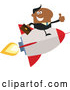 Vector of Cartoon Black Business Man Holding a Thumb up and Flying on a Rocket by Hit Toon