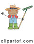 Vector of Cartoon Black Farmer Boy Holding a Rake and Waving by Hit Toon