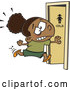 Vector of Cartoon Black School Girl Running to the Restroom by Toonaday