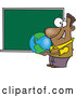 Vector of Cartoon Black Teacher Man Holding a Globe by a Chalkboard by Toonaday