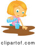 Vector of Cartoon Blond Girl Pouring a Glass of Water by Graphics RF