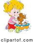 Vector of Cartoon Blond Girl Washing a Puppy in a Tub by Alex Bannykh