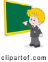 Vector of Cartoon Blond School Boy Writing on a Grid Chalkboard by Alex Bannykh