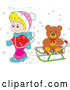 Vector of Cartoon Blond White Boy Pulling a Teddy Bear on a Sleigh by Alex Bannykh